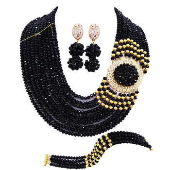 Black African Necklace Jewelry Set for Women Nigerian Beads Party Jewelry Sets 10DBPH02