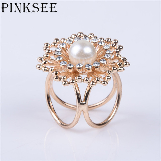 PINKEE Rhinestone Crystal Flower Imitation Pearl Scarf Holder Brooch For  Women Gold Silver Color Brooches Jewelry Accessories 472f21769a8d