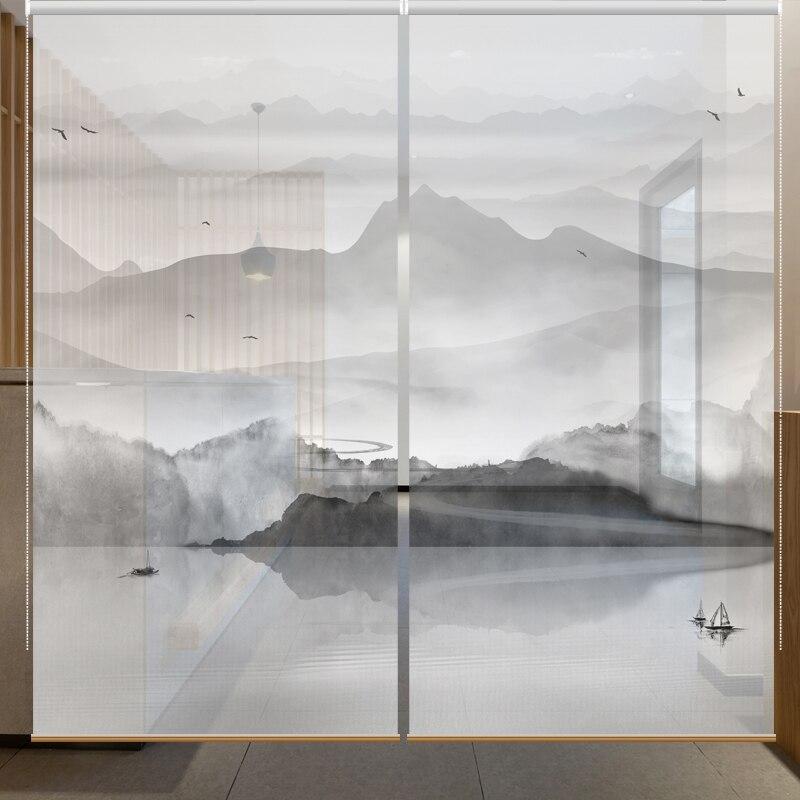 Translucide rouleau aveugle Pull ascenseur décoration suspendus tissu partition douce chinois rideau encre paysage