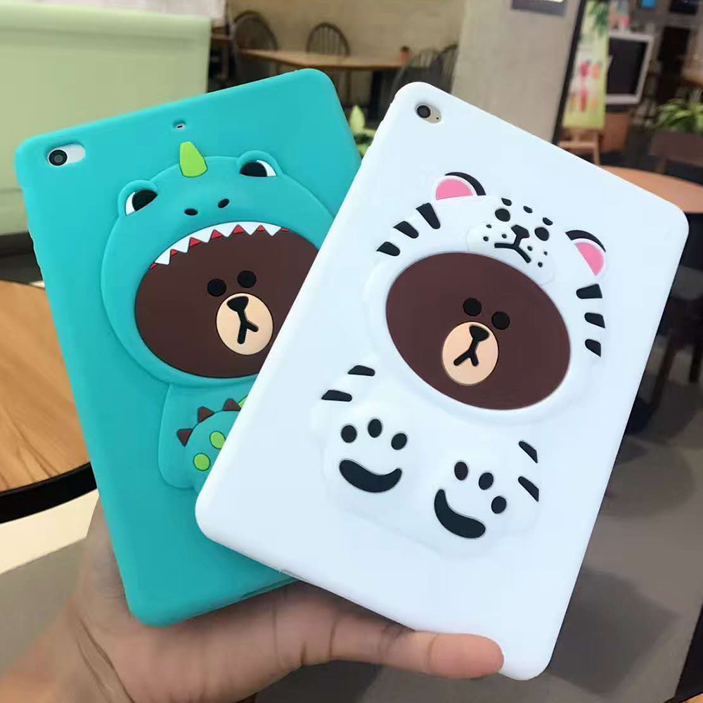 3D Cute Cartoon Bear Soft silicone Cases Cover For Apple ipad mini 1 2 3 4 ipad 5 air 1 ipad 6 air 2 Case Coque Fundas Shell for ipad air 1 2 cute candy color soft silicone tablet case cover for ipad 5 6 mini 2 3 fashion slim lovely protective sleeve