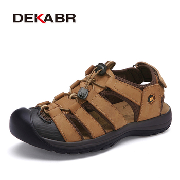 DEKABR letnie sandały męskie trampki kapcie męskie klapki obuwie plażowe odkryte oddychające Sandalias moda mężczyźni buty tanie i dobre opinie Prawdziwej skóry Skóra bydlęca Podstawowe Cotton Fabric RUBBER Slip-on Niska (1 cm-3 cm) Bonded leather Pasuje prawda na wymiar weź swój normalny rozmiar