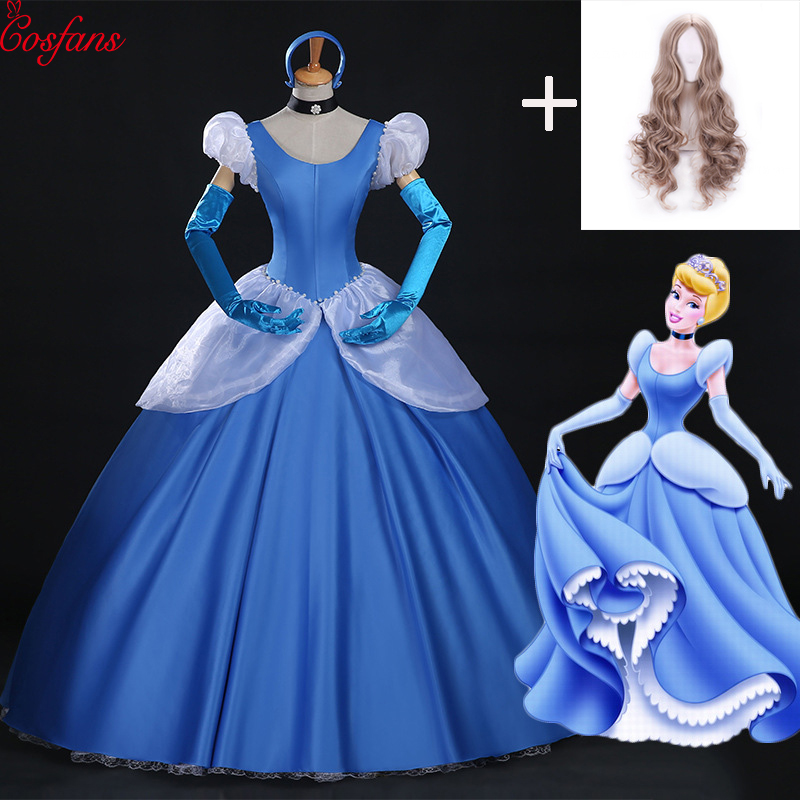 Cinderella Cosplay Adult Blue Cinderella Girl Wedding Dress Adult Custom Party Halloween Cosplay Carnival Cosplay Costume 2018