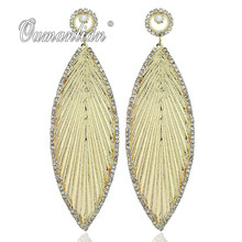 2019 New arrival Sparkling Long Metal Leaf Crystal Earrings for Women Rhinestone Simple Gold silver color Wedding Party E109 недорого