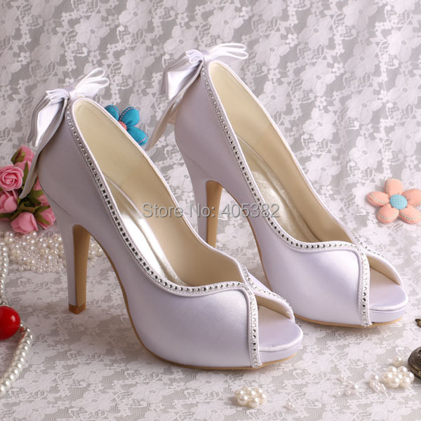 Wedopus Customized White Women Pumps Bridal Wedding Shoes High Heeled with Back  Bowtie c2a7553e0168