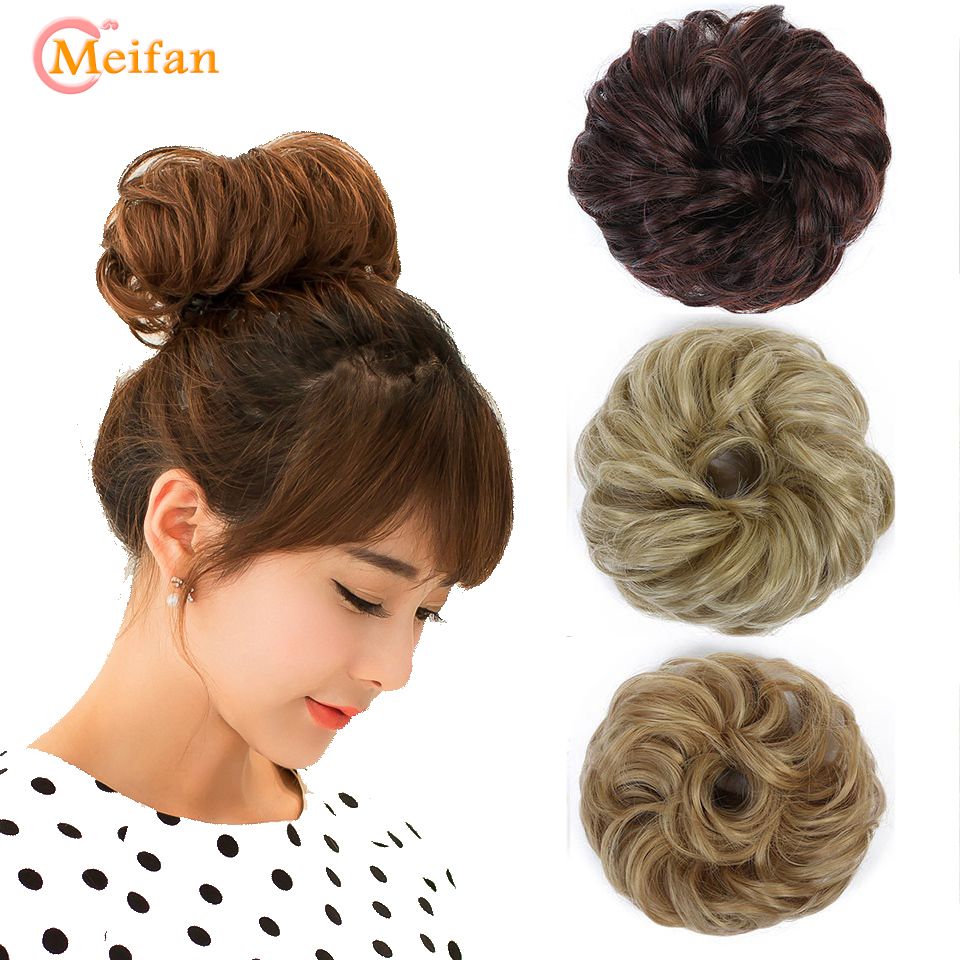MEIFAN Short Culry Elastic Scrunchie Chignon Synthetic Fake Hair Bun For Women Hair Rope Rubber Band Hair Bun Accessories