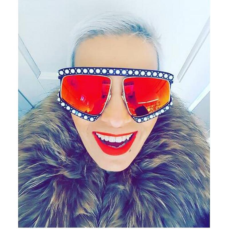 Italian Brand Designer Luxury Big Pearl Sunglasses Women Men Oversized Sun Glasses For Female Male Clear Lens Goggle UV400