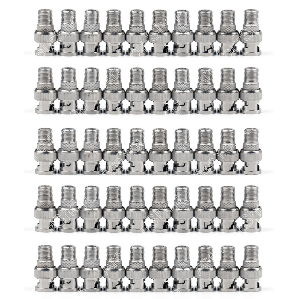 Areyourshop Sale 50 Pcs Premium F-Type Female To BNC Male Coax RF Connectors CCTV RG6 RG59