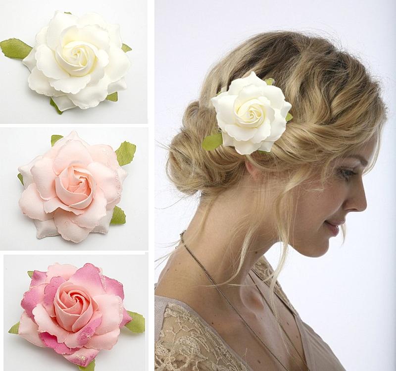 "20PX 3.5"" White Pink Rose Flower Hair Clip Brooch Wedding ..."