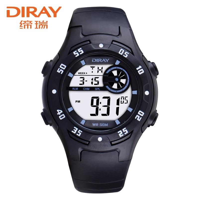 2019 DIRAY Wrist Watch Children Waterproof Silicone Digital Watch Kids Fashion LED Sport Watch Students Watches Hour Clock Gift