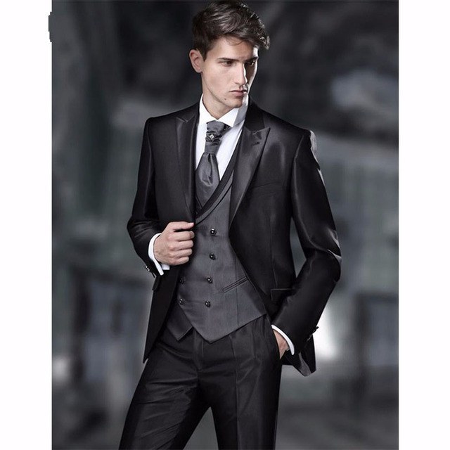 Latest Coat Pant Designs Charcoal Groom Tuxedos Italian Style Mens ...