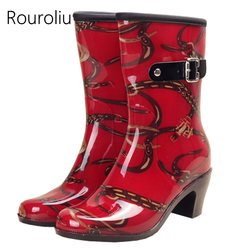 Rouroliu New Women Buckle Mid-calf Rainboots Side Zipper High Heels Rain Boots Totem Water Shoes Woman Wellies ZM128 free drop shipping new vogue adult women fashion rainboots pvc rain shoes buckle water rubber boots wellies bargin price black