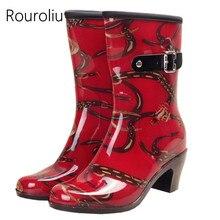 New Arrivals Women Fashion Buckle Mid-calf Rainboots Short Side Zipper High Heels Rain Boots Waterproof Water Shoes  #ZM128