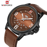 New Watches Men NAVIFORCE Luxury Brand Fashion Casual Quartz Watch PU Leather Brown Male Wristwatches Dive