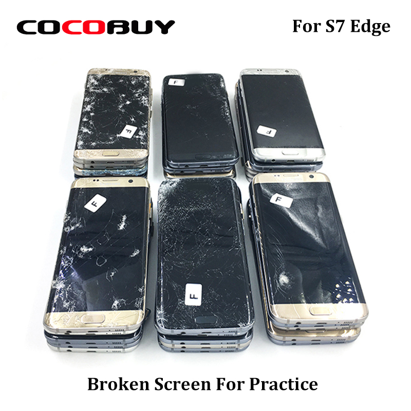 Practice LCD screen for Samsung S7 edge black dot lcd touch working glass broken practicing repair LCD display and middle frame-in Power Tool Sets from Tools    1