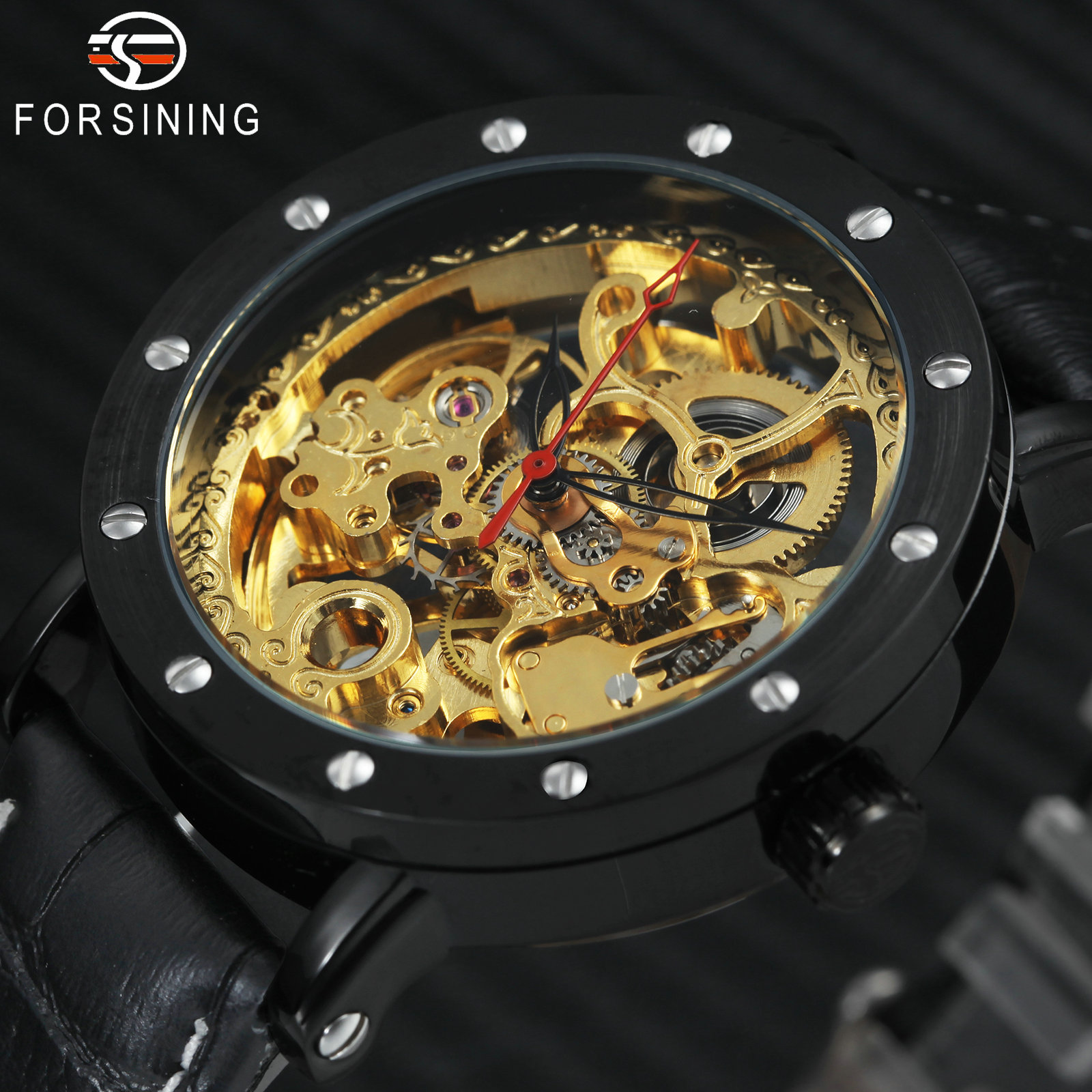 FORSINING Fashion Business Auto Mechanical Watch Men Leather Strap Golden Skeleton Dial Top Brand Luxury Mens Wrist Watches winner mens watches top brand luxury leather strap skeleton skull auto mechanical fashion steampunk wrist watch men gift box