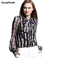 New 2018 Elegant Floral Women's Body Blouse Shirt Printed Silk Bow Collar Lantern Sleeve Top Grade Blusa Feminina S XL SY0297