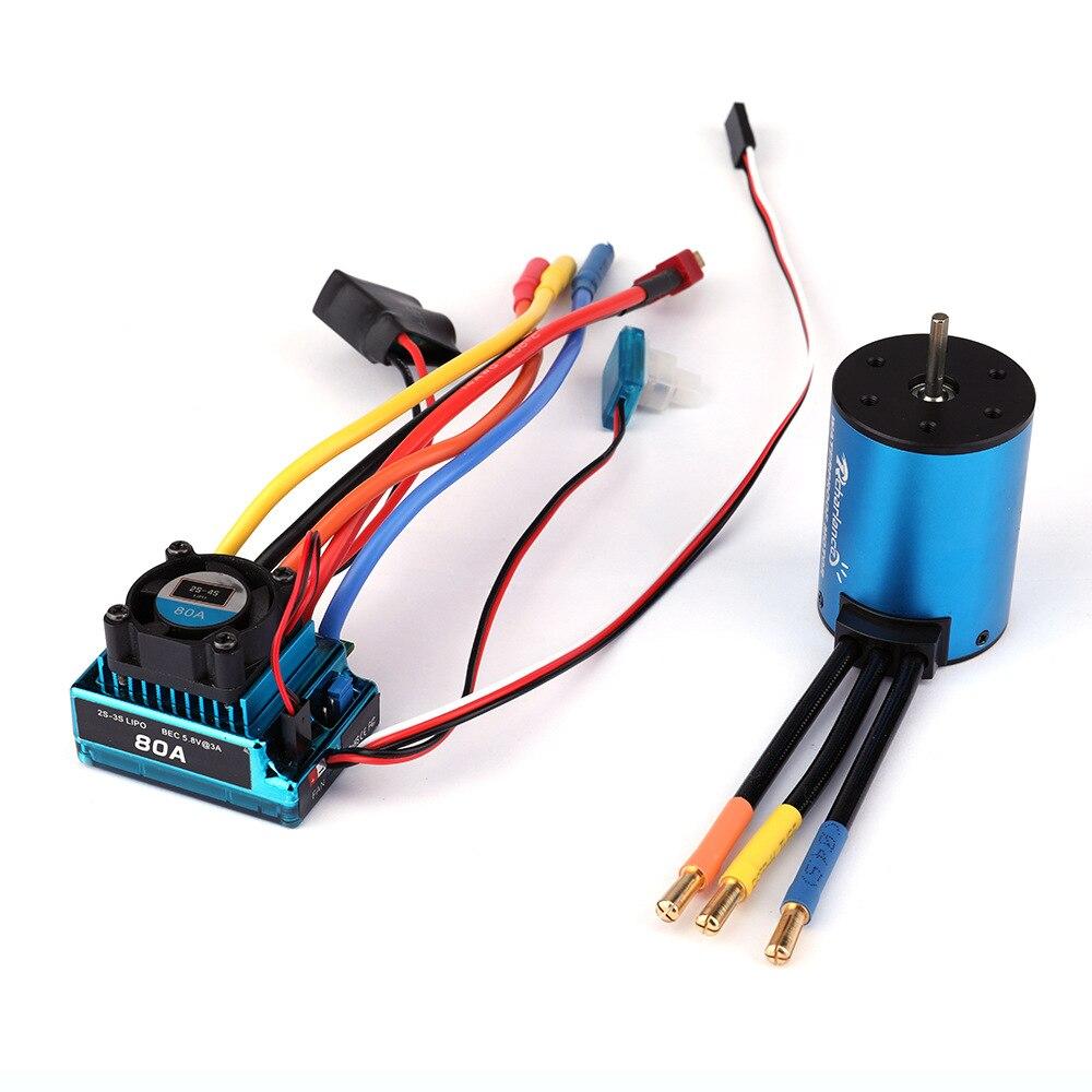 Imperméable à l'eau 3650 3900KV 4300KV5200KV moteur sans brosse 60A 80A ESC pour RC HPI HSP 1/8 1/10 Buggy RC voiture axiale Scx10 roche chenille