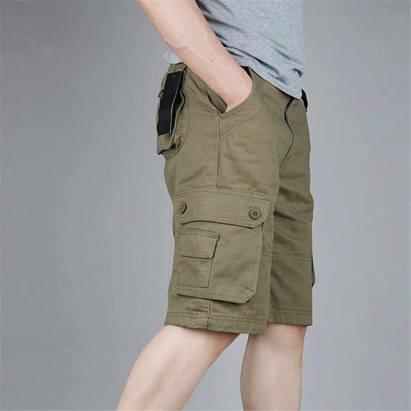 جديد الصيف الرجال الرجال السراويل عارضة الأزياء السراويل الذكور القطن متعدد جيوب البضائع السراويل الجيش