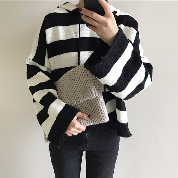 New WomenS Kawaii Knitting Loose Short Design Cute Female Multicolour Stripe Korean Sweater For Women ...
