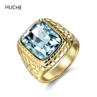 HUCHE 2016 Unique Mens Stainless Steel Rings Engraved Aquamarine Jewelry Fashion Wedding Party Men Ring 20mm