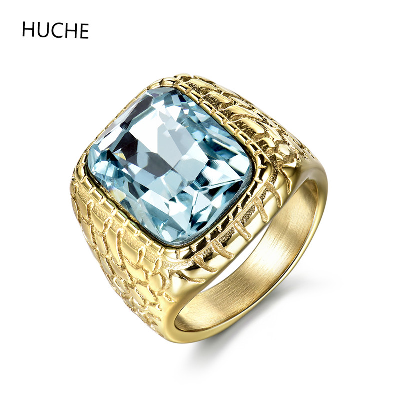 HUCHE Unique Mens Stainless Steel Ring Engraved Synthetic Aquamarine Stone Jewelry Fashion Wedding Party Men Ring Size 10 ZBR157