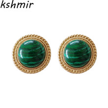 Temperament female contracted fashion restoring ancient ways round malachite stud earrings exquisite ear clip