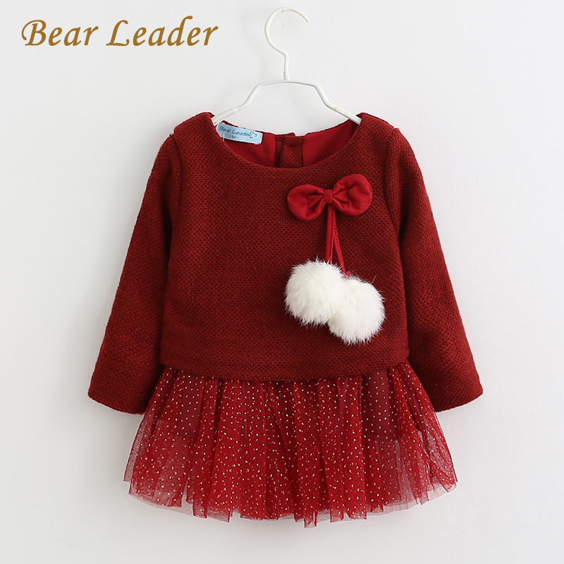 все цены на Bear Leader Baby Girls Dress 2017 New Autumn Winter Long-Sleeve Princess Dress  Kids Clothes Children Bow Dresses For 6-18M онлайн