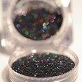2g Holográfica Láser Negro Polvo de Pigmento Glitter Polvo Del Polvo de Uñas de Arte Manicura Nail Art Decoración