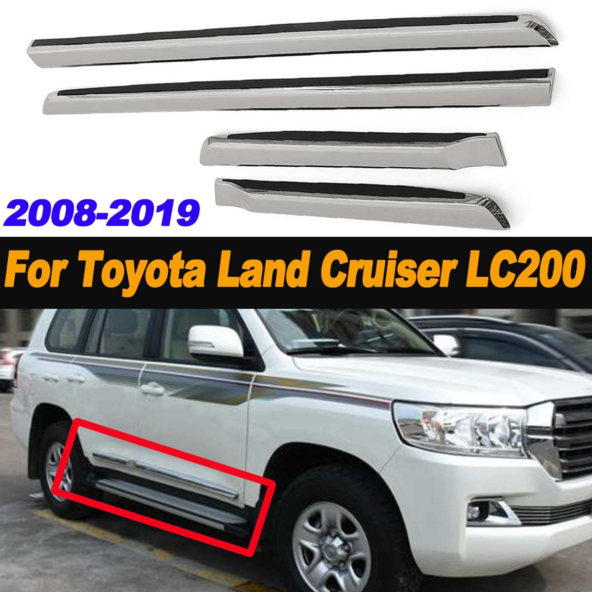 4pcs Chrome Door Side Molding ABS Car Body Line Trim for Toyota for Land Cruiser LC200 2008-2019 Chrome Styling4pcs Chrome Door Side Molding ABS Car Body Line Trim for Toyota for Land Cruiser LC200 2008-2019 Chrome Styling
