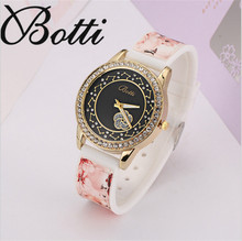 Pétalas de flores de cristal preto dos homens e das mulheres top marca de luxo relógio de quartzo colock impresso couro de pulso reloj mujer Y46
