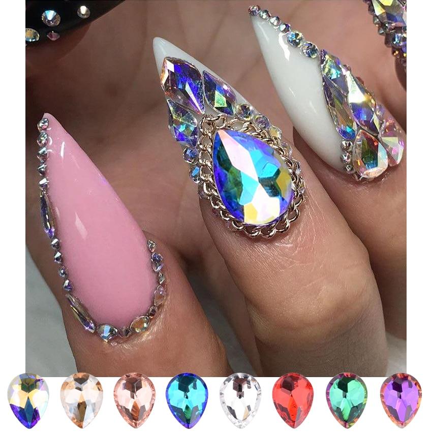 129 30 De Descuento10 Uds Cristales De Uñas Piedras De Espalda Plana Gota Ab Diamantes De Imitación 3d Gemas Para Uñas Para Decoraciones De Arte