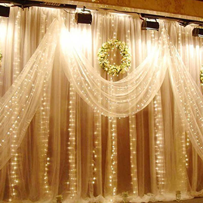 4,5 м x 3 м 300 светодиодный домашний открытый праздник Рождество декоративные Свадебные Рождественские гирлянды занавески гирлянды Полосы Вечерние огни