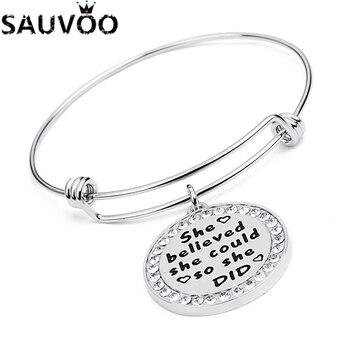 3151e6e6e416 SAUVOO redondo pulsera de cristal brazaletes para las mujeres plata Acero  inoxidable expansible brazalete grabado ella
