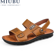 2019 MIUBU New Summer Shoes Genuine Leather Sandals Fashion Men Casual High Quality Free Shipping