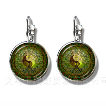 2018 Yin Yang Peace Tree of Life Glass Time Gem Earrings Tai Chi Trendy Glass Dome Silver Plated Stud Earrings For Women Gift image