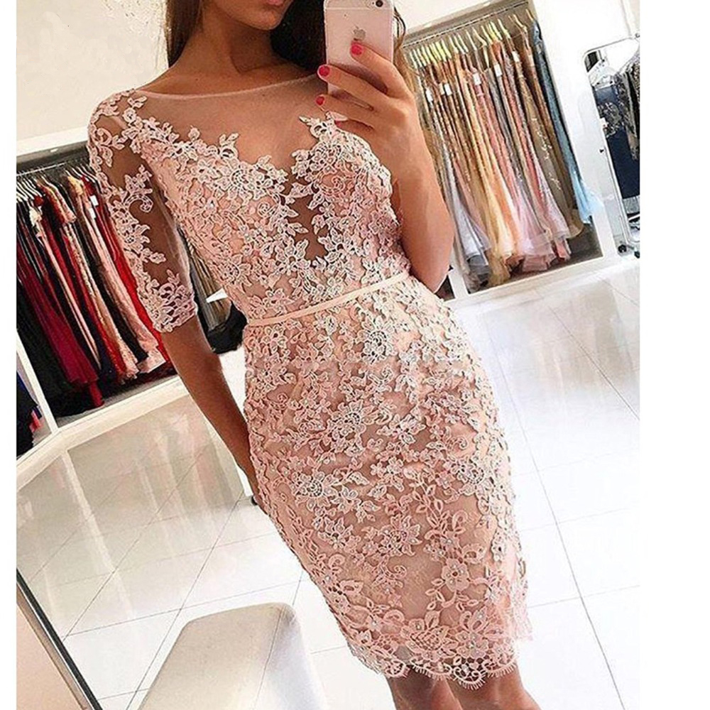 2019 Elegant Half Sleeve Lace   Cocktail     Dress   Kneed Length Short Scoop Neckline Lace Appliqued Women Sunmer Party Gowns