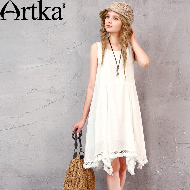 ARTKA Women s Summer New Mori Girl White Dress Vintage O Neck Sleeveless Irregular Hem Dress