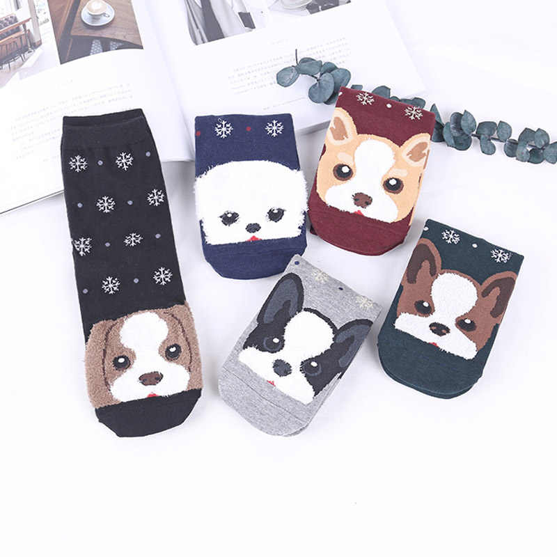 Милые забавные животные собака хлопок носки для беременных Зима Весна Новые Теплые женские носки для девочек Sokken