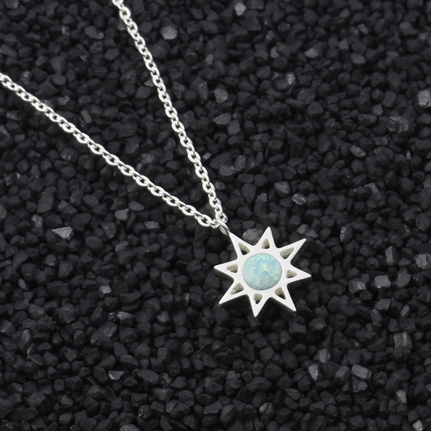 Fashion North Star With Blue Fire Opal Stone Necklace For Women Men - Fashion Jewelry - Photo 3