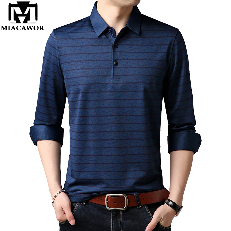 MIACAWOR New Brand Men   Polo   Shirt Spring Full sleeve Striped   Polo   Men High Quality Business Casual   Polo   Homme T678