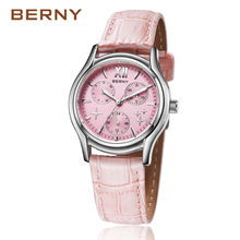 BERNY 2017 Fashion Luxury Rose Gold Star Women's Watches with Leather Strap Multi-function Waterproof Quartz Wrist 2656
