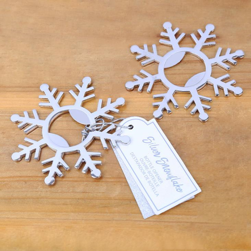 New Metal Alloy Openers SnowFlake Shape Bottle Beer Opener Kitchen Table Wedding Party Use Christmas Gift F20172500