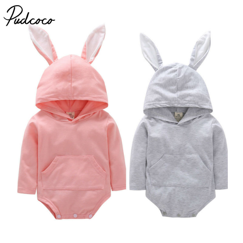 Pudcoco Baby Boy Girl Cute Rabbit Costume Solid Pink Gray Bodysuit Warm Autumn Winter Cotton Clothes 0 1 2 Years Birthday Gift