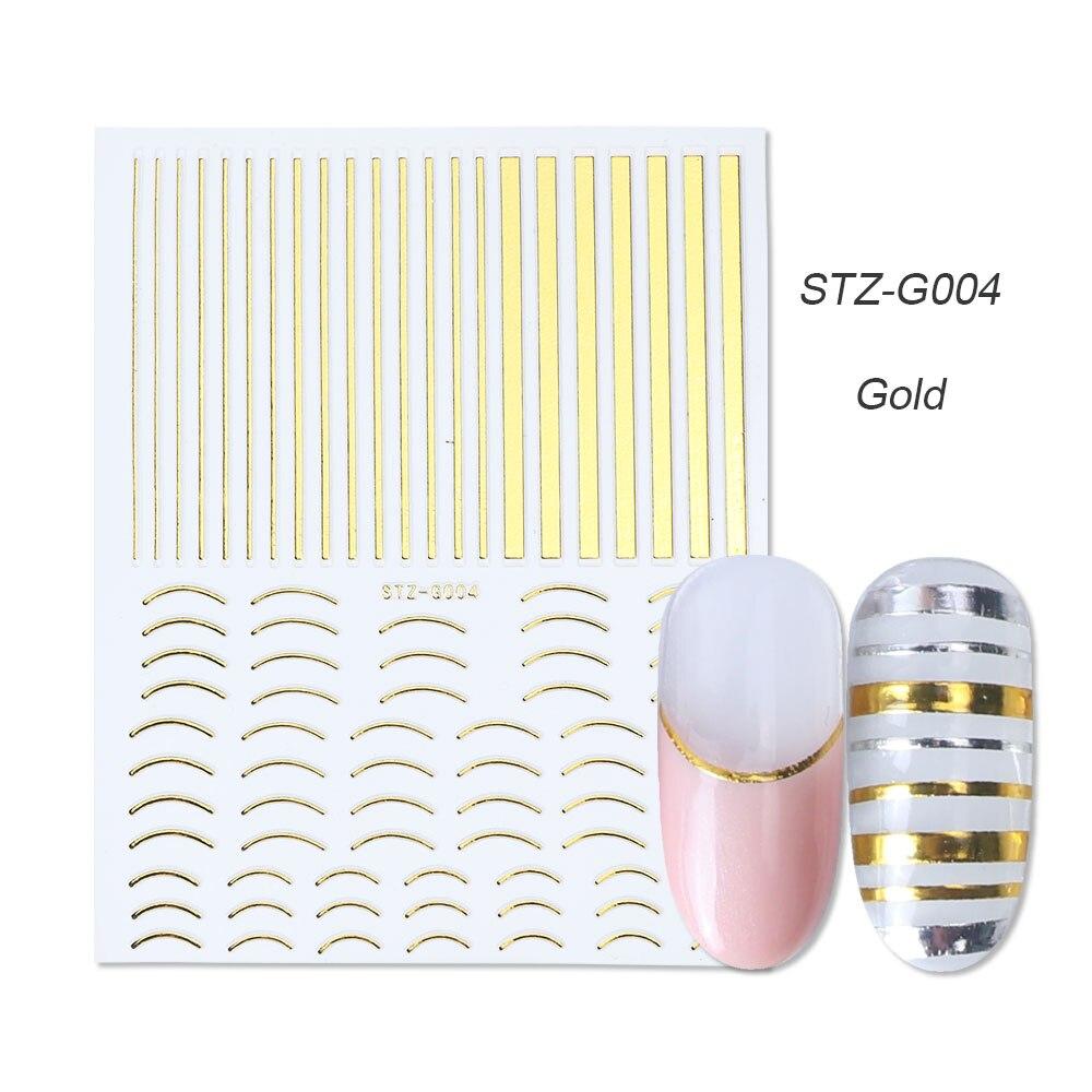 1 шт золотые Серебристые 3D наклейки для ногтей прямые изогнутые вкладыши полосы ленты обертывания геометрический дизайн ногтей украшения BESTZG001-013 - Цвет: STZ-G004 Gold