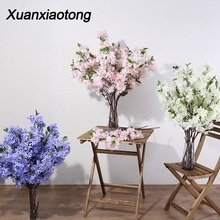 Xuanxiaotong 100cm Lilac Artificial Flowers Branches for Wedding Home Decor Cherry Blossom Background Wall Decoration