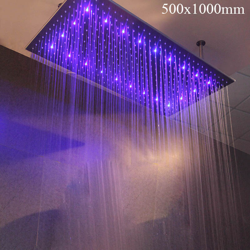 Ultra-large Rainfall Shower Head Stainless Showerhead LED Color Water Temperature Control Bathroom Shower Accessories 1000*500mm