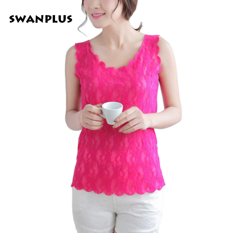 Womens Sexy Lace Blouse 2018 Summer New Style Female Fashion Tops Vest Sleeveless Red White Black Pink Yellow Ladies Shirt Tanks