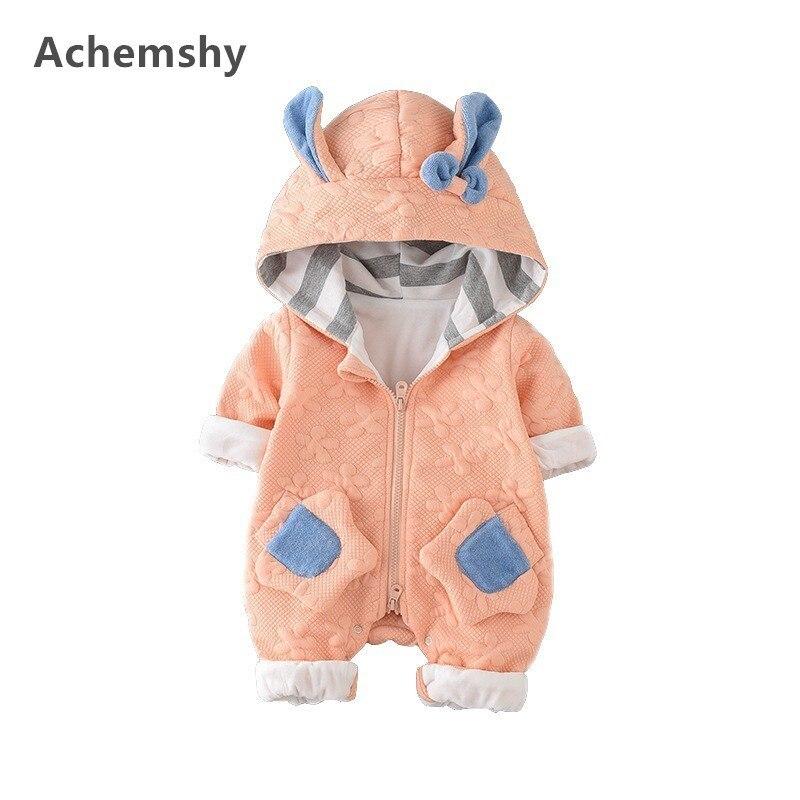 Autumn New Infant Velvet Flowers Printed Rabbit Ears Hooded Romper Baby Boys Girls Outwear Jumpsuit Soft Warm 2 Colors