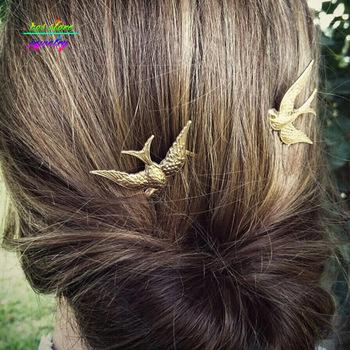 Nowe amulety Vintage rustykalne złoto jaskółka spinki ślubne akcesoria do włosów Bijoux druhny prezenty ślubne biżuteria do włosów tanie i dobre opinie cosstore Ze stopu cynku Moda Metal Spinki do włosów TRENDY Hairwear 0058 Zwierząt