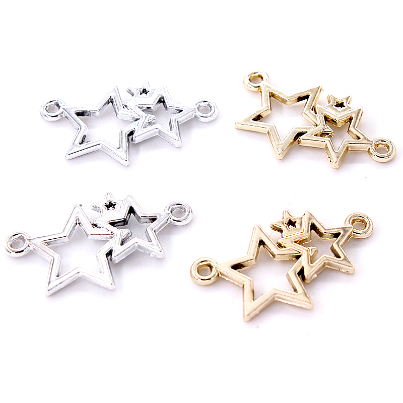 20pcs Metal Five-pointed Star Charms Pendant Bracelet Connectors For DIY Necklace Bracelet Jewelry Making Handmade Accessories